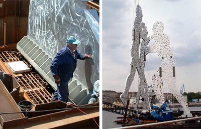 Montage der Aluminiumfiguren